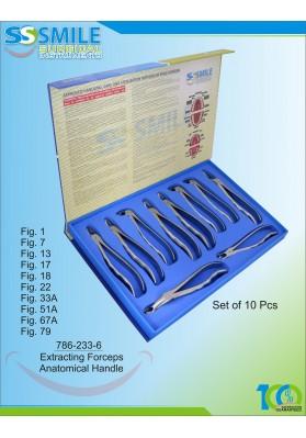 Extracting Forceps Anatomical Handle Set of 10 Pcs