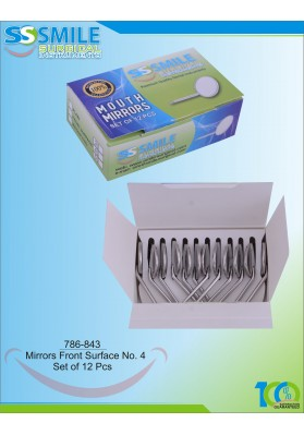 Mouth Mirror Front Surface No. 4 (Set of 12 Pieces)